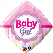 "Baby Girl Dots & Stripes Foil Balloon (18"") 1pc"